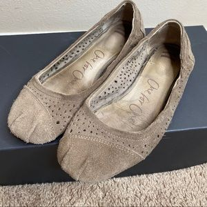 Toms Ballerina Flats Perforated Taupe Suede